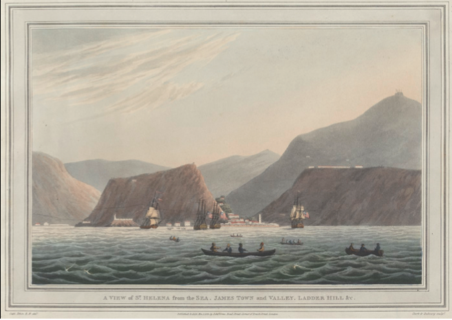 'A View of St Helena from the sea', Capt. Tobin RN, 1815