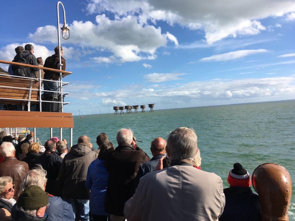 The Red Sands Maunsell forts, appearing to starboard on the SS Waverley