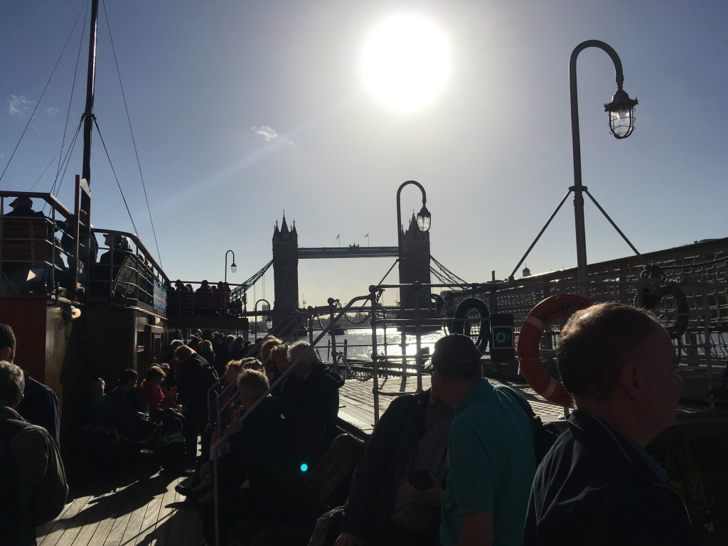 The sun high over the London Pool, as we prepare to set off on the Waverley