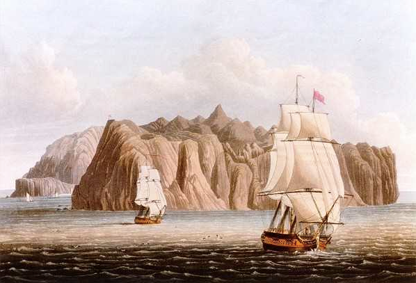 View of St Helena From the Sea, George Hutchins Bellasis, 1815